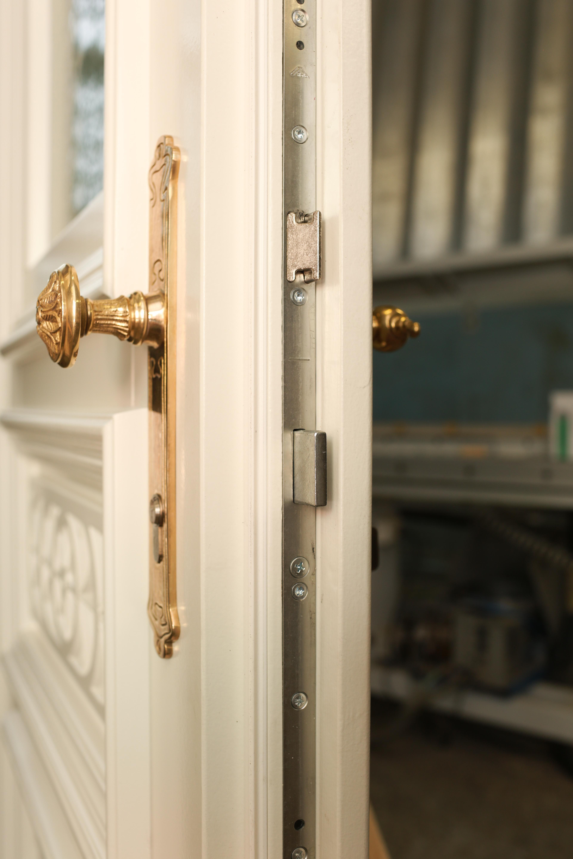 Antike Drückergarnitur Haustür mit Knauf oder fester Klinke   Ventano